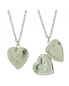 "Silvertone Heart Locket Pendant on 18"" Chain - Pack of Two"
