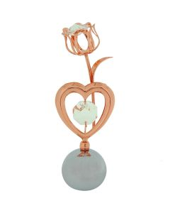 Crystocraft Chrome Plated Rose Goldtone Tulip & Heart Made With Swarovski Crystals Ornament.