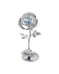 "Crystocraft ""Thank You"" Single Lilac Rose Freestanding Silver Plated Ornament Made With Swarovski Crystals"