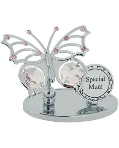 "Crystocraft ""Special Mum"" Freestanding Silver Plated Butterfly Ornament Made With Swarovski Crystals"