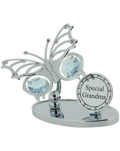 "Crystocraft ""Special Grandma"" Freestanding Silver Plated Butterfly Ornament Made With Swarovski Crystals"