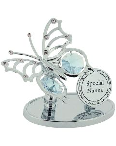 "Crystocraft ""Special Nanna"" Freestanding Silver Plated Butterfly Ornament Made With Swarovski Crystals"
