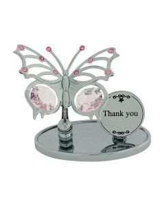 "Crystocraft ""Thank You"" Gift Ornament Freestanding Silver Plated Made With Swarovski Crystals"