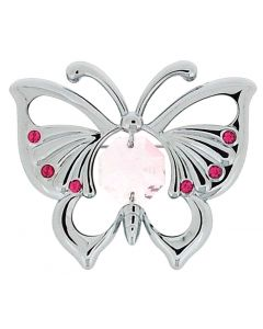 Crystocraft Silvertone Butterfly Brooch Made with Swarovski Crystals In Box  SP607