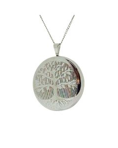 "TOC Sterling Silver ""Tree Of Life"" Round Locket Necklace 18"""