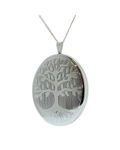 "TOC Sterling Silver ""Tree Of Life"" 31mm Oval Locket Necklace 18"""