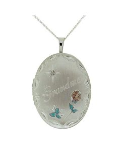 "TOC Sterling Silver ""Grandma"" Crystal Set Oval Locket Necklace 18"""