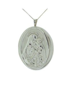 "TOC Sterling Silver 2 Photograph ""Madonna & Child"" Oval Locket Necklace 18"""