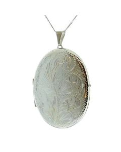 TOC Sterling Silver 9gr 2 Photograph Engraved Oval 45mm Locket Necklace 18""