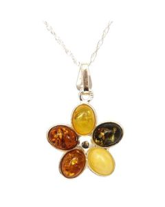"925 Silver Flower Shaped Amber Pendant on 18"" Chain"