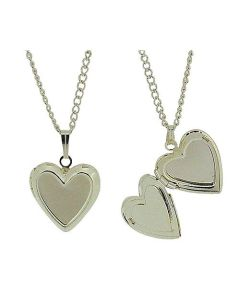 "Silvertone Heart Locket Pendant on 16"" Chain - Pack of 2 - The Olivia Collection"