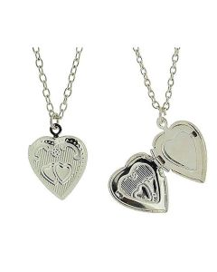 "Silvertone Engraved Heart Locket Pendant on 18"" Chain - Pack of 2"