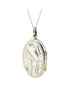 "The Olivia Collection Sterling Silver 30mm Oval Engraved Locket on 18"" Chain"