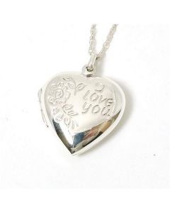 The Olivia Collection Sterling Silver 'I Love You' Heart Locket on 18 Inch Chain