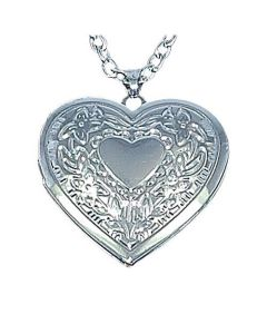 "TOC Silvertone Engraved Heart Locket Pendant on 18"" Chain"