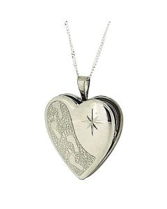 "TOC Sterling Silver ""Footprints in the Sand"" Heart Locket Necklace 18"""