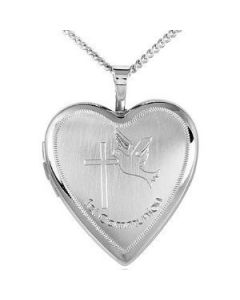"TOC Sterling Silver ""1st Communion"" Engraved Heart Locket Necklace 14"""