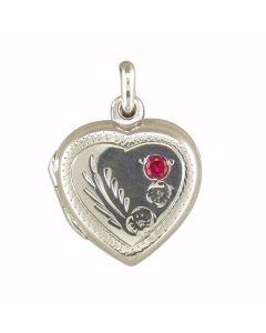 "TOC Sterling Silver 16mm Heart Locket with Red Crystal, on 18"" Chain"