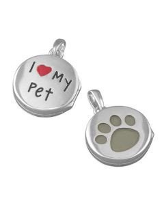 "TOC Sterling Silver 14mm I Love My Pet Round Locket, on 18"" Chain"