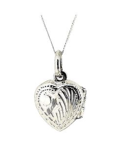 TOC Sterling Silver 12mm Engraved Heart Locket on 18 Inch Chain