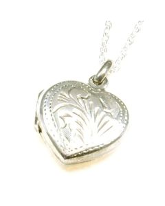 "The Olivia Collection Sterling Silver 16mm Engraved Heart Locket on18"" Chain"