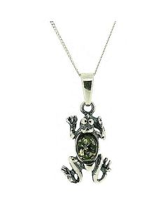 "The Olivia Collection 925 Silver Frog Green Amber Pendant, 18"" Chain"
