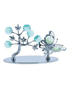 Crystocraft Crystal Tree With Butterfly On Chrome Plate made with Swarovski Crystals