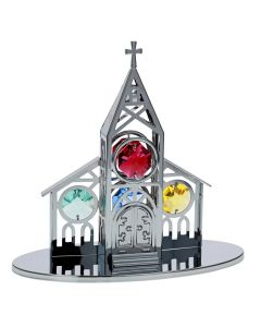 Crystocraft Church Ornament Made With Swarovski Crystals