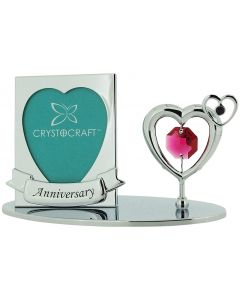 """Crystocraft Free Standing Silver Plated """"Anniversary"""" Photo Frame Ornament Made With Swarovski Crystals"""