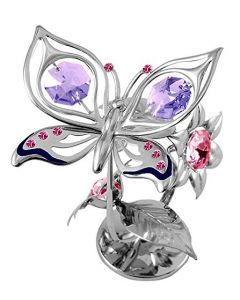 CRYSTOCRAFT Butterfly & Flower Miniature Freestanding Silver Plated Made With Swarovski Crystals