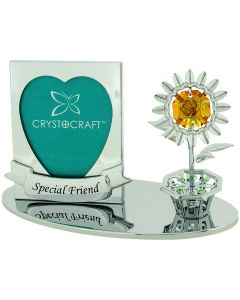 """Crystocraft Free Standing Silver Plated """"Special Friend"""" Photo Frame Ornament Made With Swarovski Crystals"""