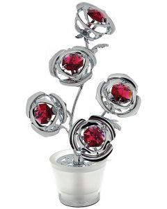 CRYSTOCRAFT Freestanding 5 Mini Red Roses Made With Swarovski Crystals Ornament