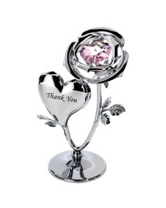 Crystocraft Chrome Plated Rose & Heart Ornament (THANK YOU)