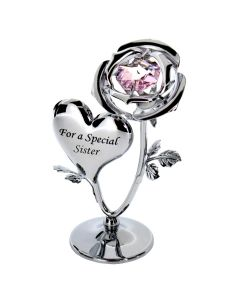 Crystocraft Chrome Plated Rose & Heart Ornament (SISTER)