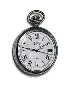 Bernex Rhodium Plated Gents Pocket Watch  Roman Numerals GB21201
