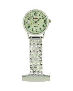 Boxx Ladies - Gents  Ivory Colour Dial Silver Tone Professional Nurses Fob Watch