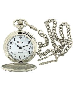 Boxx Analogue Silver Tone Gents Pocket Watch and 12 Inch Chain Boxx136
