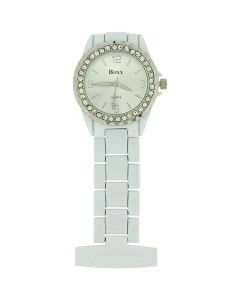 Boxx Ladies White Enamel Stone Set Bezel Nurses/Beauticians Fob Watch BOXX12