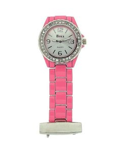 Boxx Ladies Pink Enamel Stone Set Bezel Nurses/Beauticians Fob Watch BOXX13