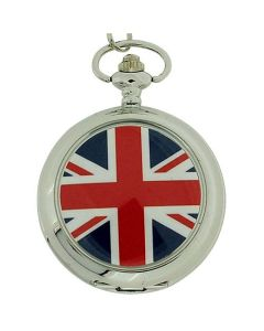 Boxx England Flag Union Jack White Dial Gents Pocket Watch 12 Inch Chain Boxx22