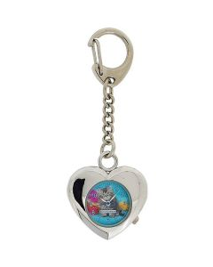 Keith Kimberlin Heart Shaped Pussy Cat Blue Dial Ladies Keyring Watch KK5