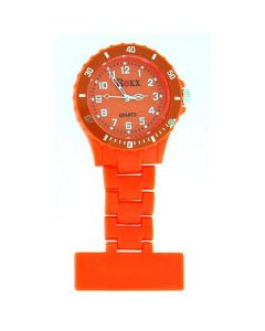 Boxx Hot Orange Rotating Bezel Nurses Fob Watch F043