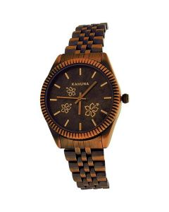 Kahuna Ladies Analogue Dial Rose Goldtone & Black Tone Metal Strap Watch KLB-0038L