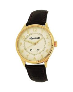 Ingersoll Men Goldtone Mechanical Watch Brown Genuine Leather Strap INJA001GDBR