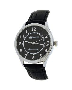 Ingersoll Gents Silvertone Mechanical Watch Black Genuine Leather Strap INJA001SLBK