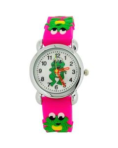Relda Childrens Girl's 3D Green Frog On Hot Pink Silicone Strap Watch REL39