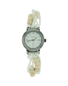 Kahuna Ladies White String Bead Bracelet Watch Toggle Pull Closure KLF-0001L