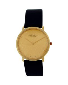 Stahl Gents Analogue Stainless Steel Genuine Black Leather Strap Watch ST62151