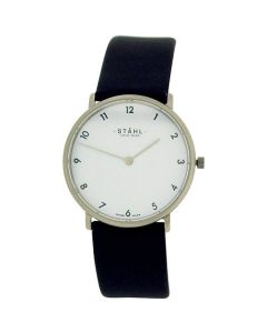 Stahl Gents White Dial Stainless Steel Genuine Black Leather Strap Watch ST61359