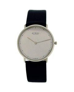 Stahl Gents Silvertone Dial Stainless Steel Black Leather Strap Watch ST62343
